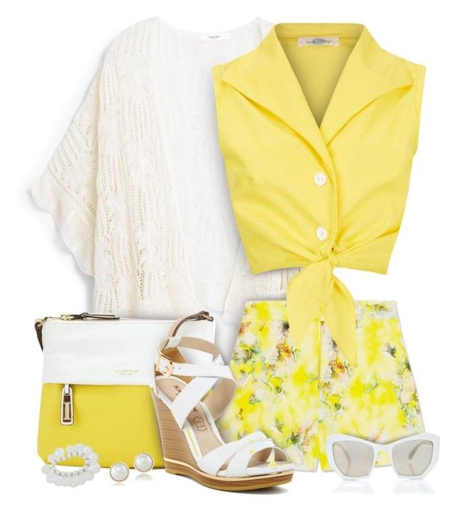 """Buttercup Yellow Shorts Outfit with Cardigan"" by helenehrenhofer ❤ liked on Polyvore featuring MANGO, Isaac Mizrahi, MELLOW YELLOW, Carolee and Prism"