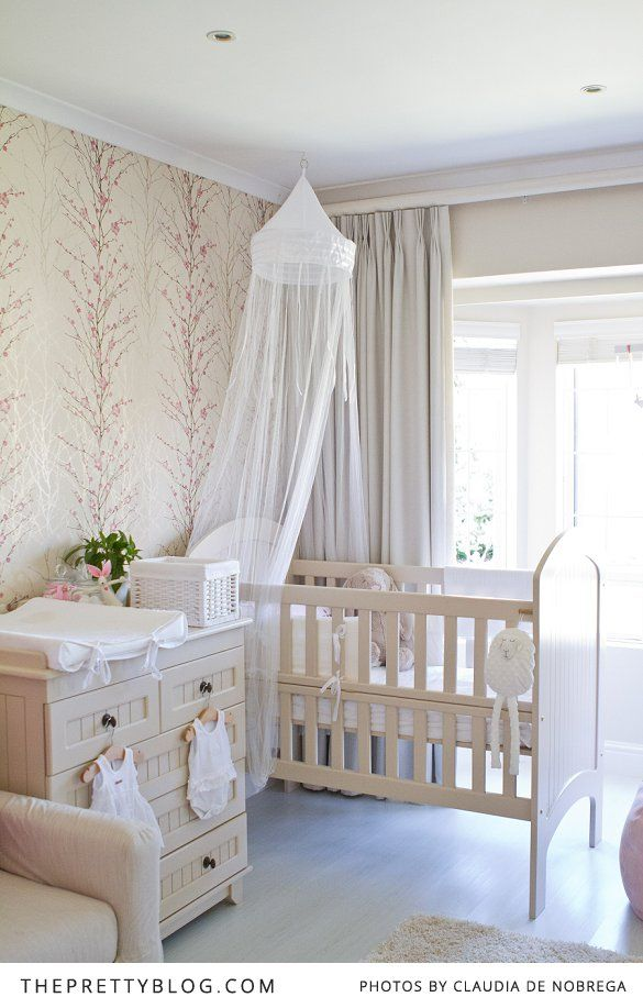 neutral nursery | cherry blossom wallpaper. Maybe I'll do something like this for baby #3 and not find out the gender.