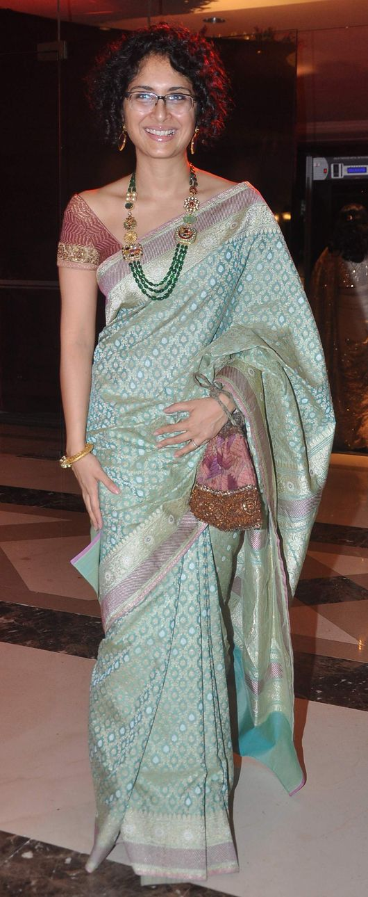 Kiran Rao in a saree, blouse and statement necklace