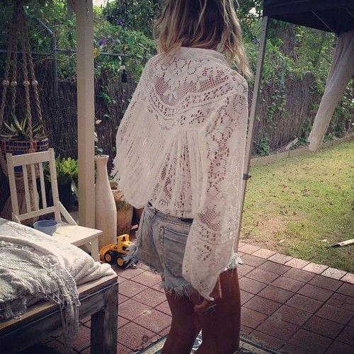 white lace / jean shorts