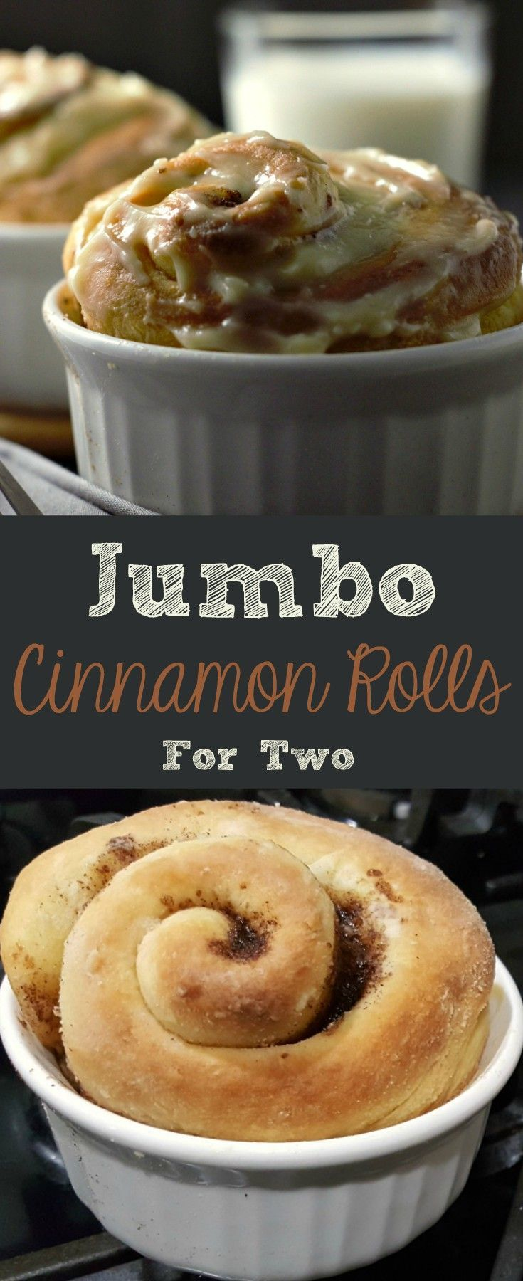 These homemade Jumbo Cinnamon Rolls are incredibly soft and fluffy with a delicious sugar cinnamon filling and sweet cream cheese frosting. As I'm writing this post on Valentine's Day I find myself in love with these cinnamon rolls! This small batch recipe makes a great romantic breakfast or dessert for two. #CinnamonRolls #breakfast #BreakfastForTwo #DessertForTwo #dessert #homemade