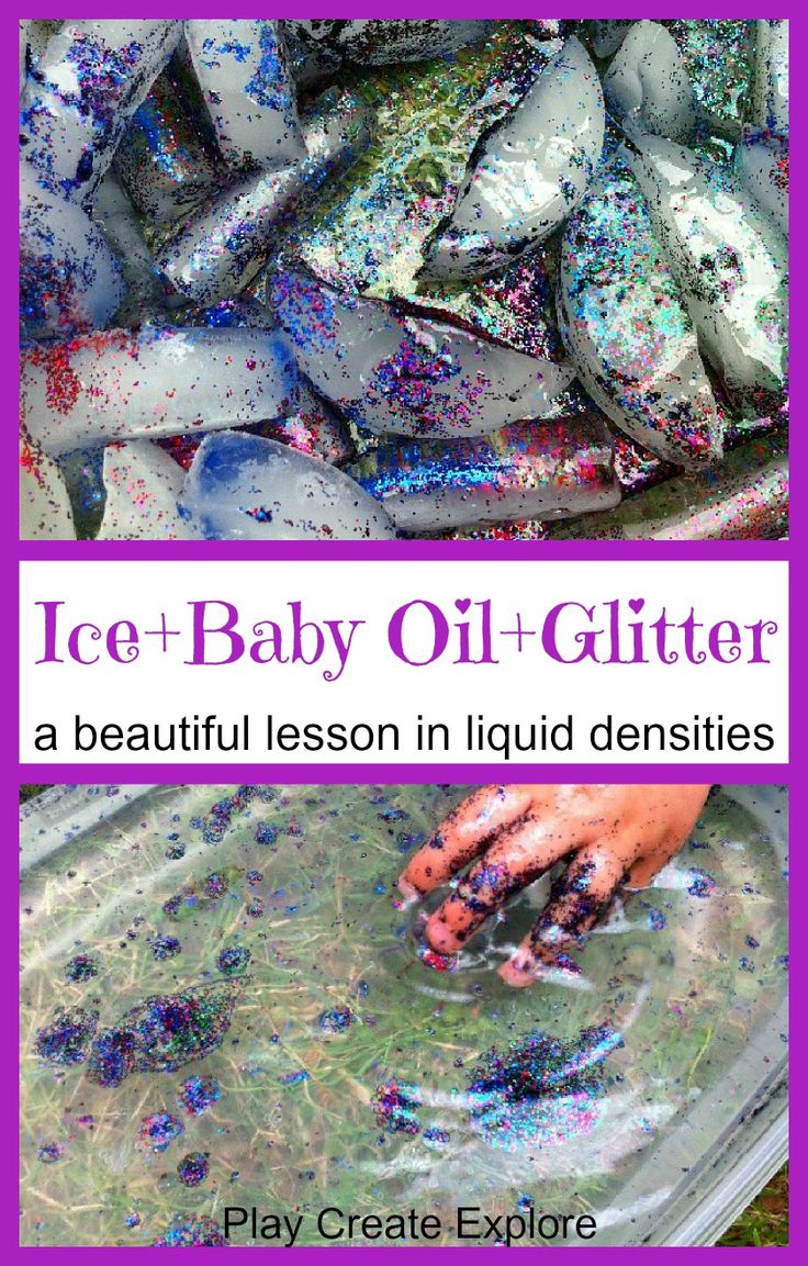 Sensory Science Activity Teaching Liquid Density with Ice, Baby Oil, and Glitter.
