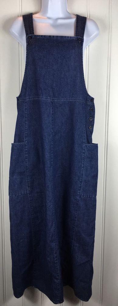 LL Bean 8 Jean Jumper Dress Montessori Preschool Teacher Denim Pockets #LLBean #Jumper #Casual