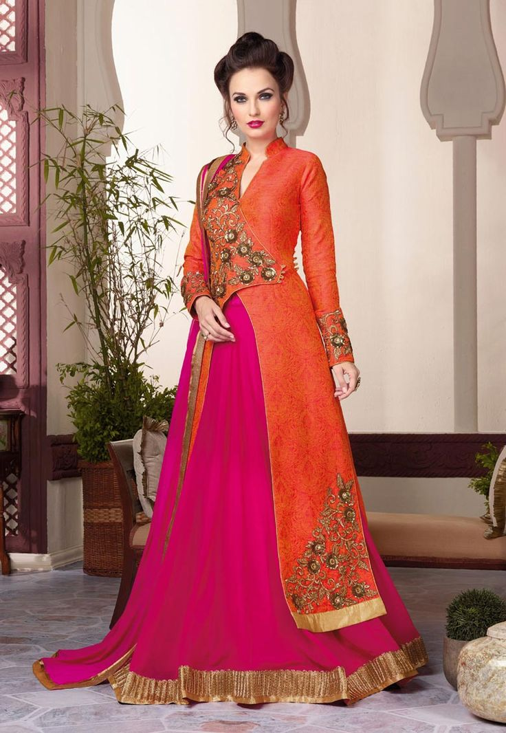 #Orange #Art #Silk #Semi #Stitch #Lehenga #with #Choli And #Dupatta.  Orange Art Silk flared Semi Stitch lehenga designed with Heavy Zari,Resham Embroidery With Stone Work And Lace Border Work.   INR:6,172.00  With Exclusive Discount   Grab: http://tinyurl.com/jmyqafx