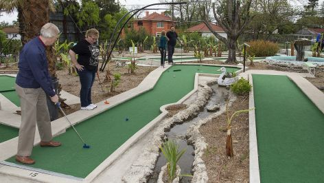 The recently restored  Cool Crest minature golf offers nostalgia and plenty of cooling greenery.