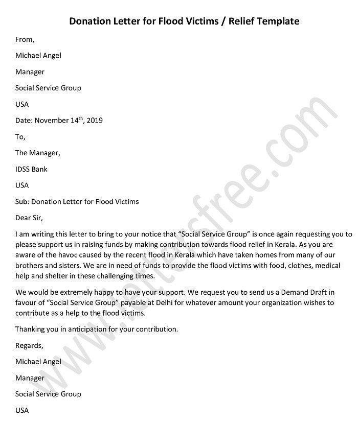 Donation Request Letter For Flood Victims Relief Donation Request Letters Donation Letter Donation Letter Template