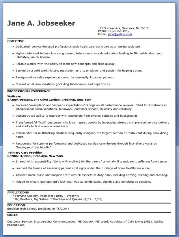 free nursing assistant resume templates - Sample Resume For Nursing Assistant