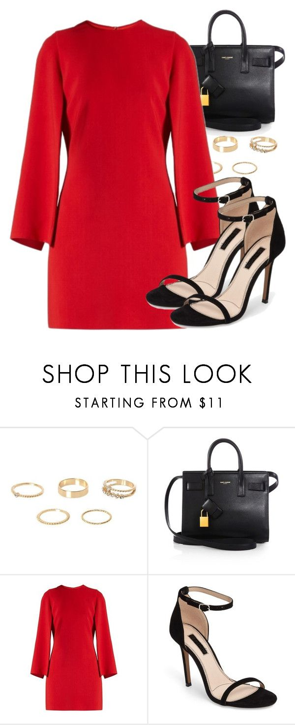 """Sem título #4639"" by beatrizvilar ❤ liked on Polyvore featuring River Island, Yves Saint Laurent, Givenchy and Topshop"