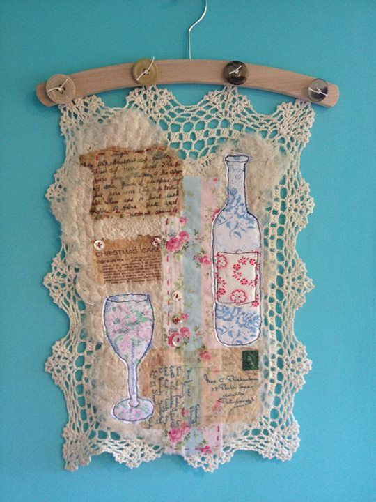 "The Purple Thread Shed - Ali Ferguson- from  the ""Vintage Tea Party wall hanging"" workshop . this piece by Karl"