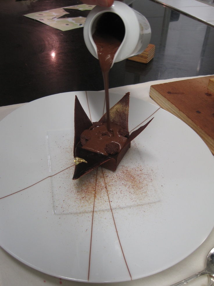 Laurent Jeannin's Japanese origami chocolate dessert is served with a hot chocolate sauce that is poured over it by the waiter at the table.  I ate things like this all day!  Incredible.