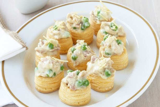 This French-inspired canape features mini vol-au-vent pastries filled with creamy turkey carbonara.