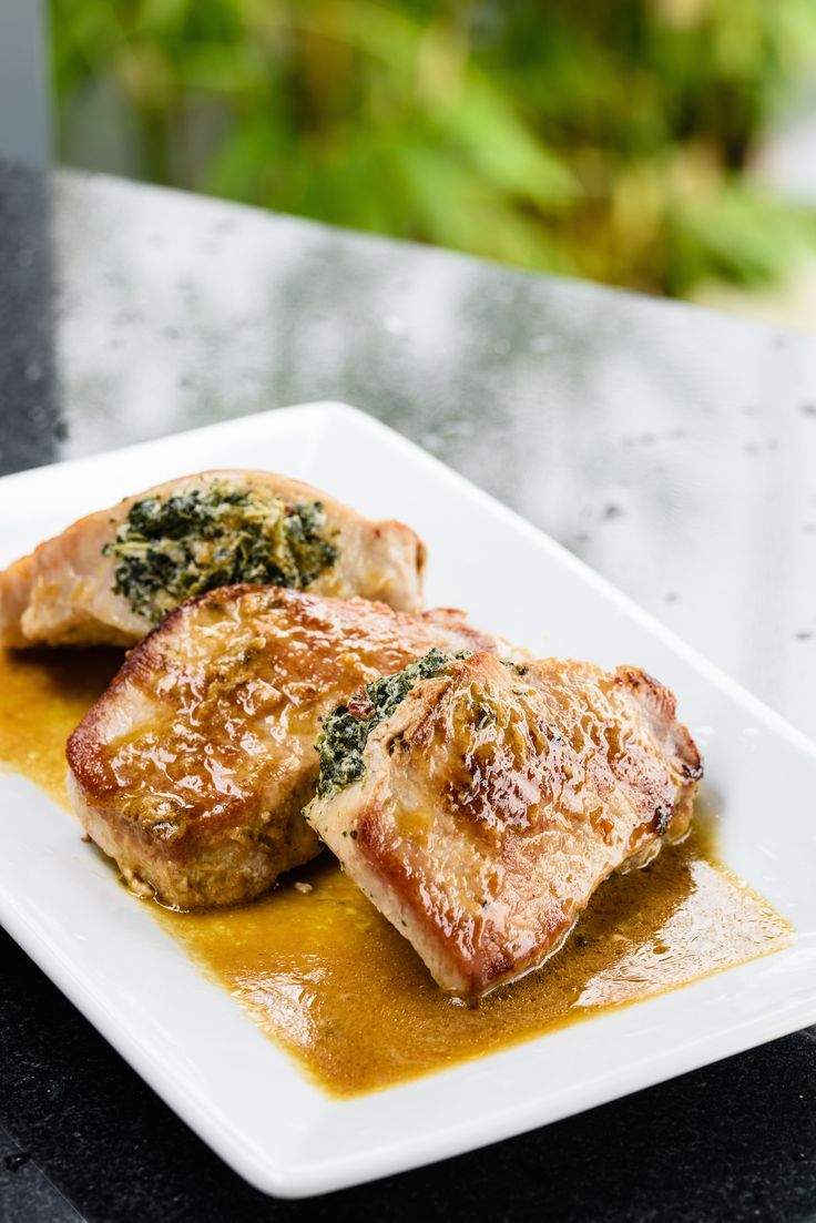 Giada's Pork Chops Stuffed with Sun-Dried Tomatoes and Spinach