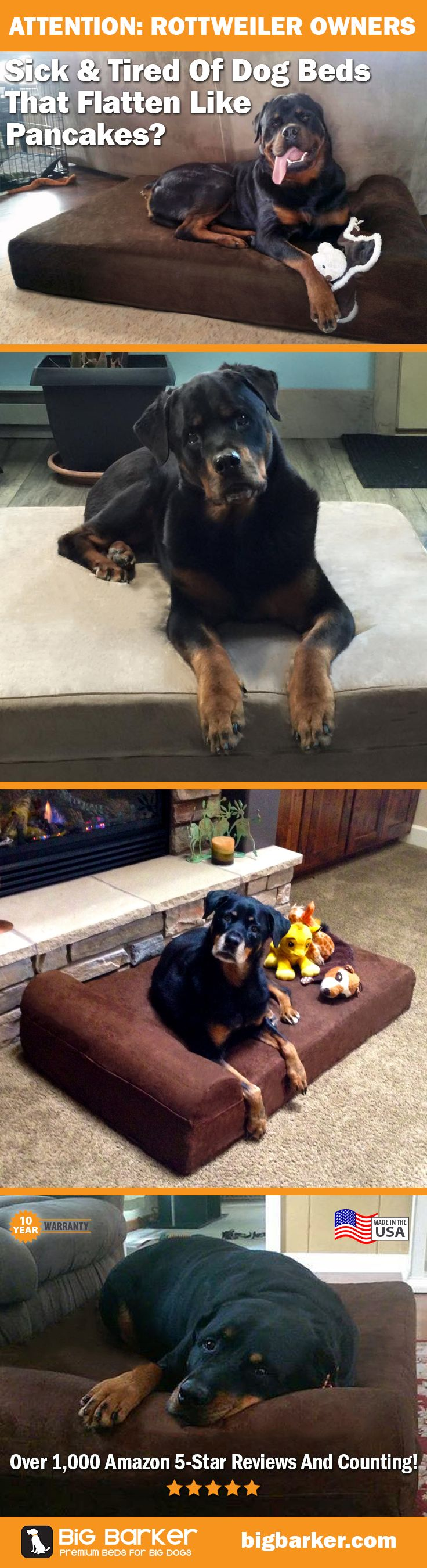 Rottweiler dog beds by Big Barker... America's most luxurious dog bed for big dogs like Rottweilers | See more pictures at http://bigbarker.com