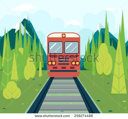 Wagons In Forest Tourism and Journey Symbol Railroad Train Travel Concept on Stylish Mountain Sky Background Flat Design Vector Illustration