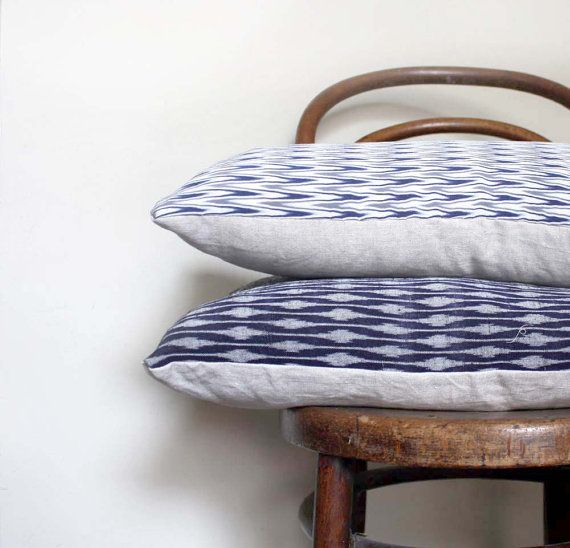 Blue White Chevron Recycled Decorative Pillow / Throw Cushion Cover. 30x60cm. Vintage Silk and Natural Linen. Modern Design. Eco Living