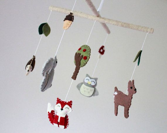 Forest woodland animals baby mobile crib mobile wood for Woodland animals nursery mobile