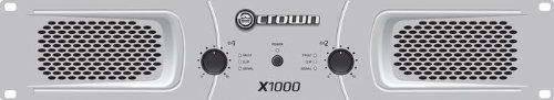 Crown X1000 Stereo 2x300W Power Amp by Crown. $249.99. The X Series of power amplifiers from Crown represents a new era in affordable, quality power amplification. All four models in the series are powerful, rugged and reliable. They are suited for musicians, DJs, and entertainers as well as houses of worship, discos, and pubs. Features include RCA and XLR inputs, user selectable input sensitivity of 0.755V or 1.4V, Speakon and binding post outputs, stereo/parallel/bri...