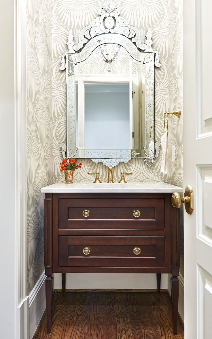High Quality Farrow And Ball Wallpaper Livens Up The Powder Room. Interior Design By  Lyndsy Woods. Ideas