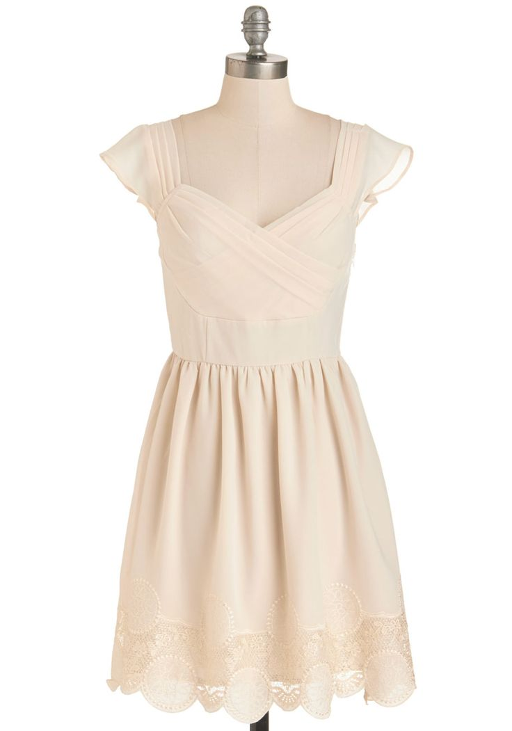 Let's Reminisce Dress in Cream - Mid-length, Chiffon, Woven, White, Solid, Wedding, Daytime Party, Graduation, Bride, A-line, Cap Sleeves, Spring, Variation, Sweetheart