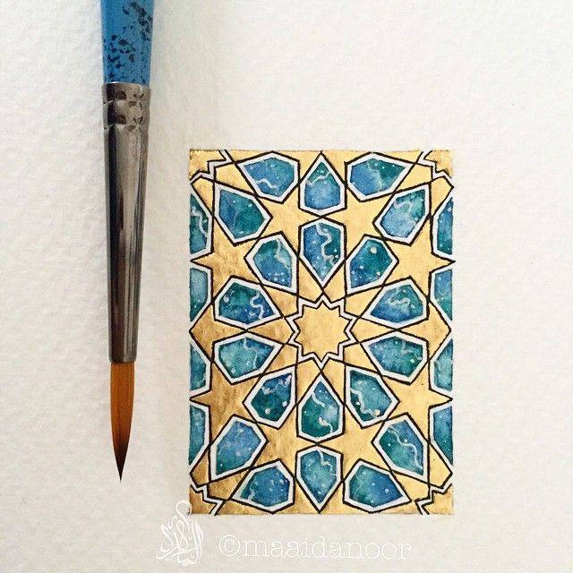 The finished beauty. Dimensions: 3.5x5cm Watercolour on paper #islamicart #watercolour #painting #23ct #goldgilding #goldleaf #art