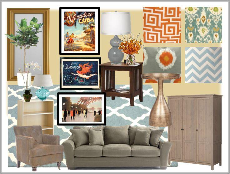 Coral And Aqua Living Room Inspiration Living Room