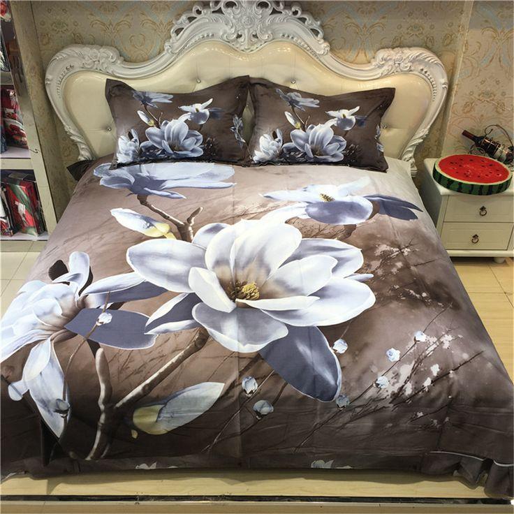 Elegant White Magnolia Floral Print 3D Bedding Set Queen