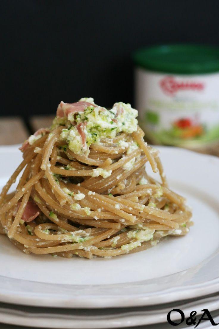 Olio e Aceto: Ricetta spaghetti con crema di zucchine ricotta e mortadella