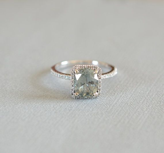 Sapphire Diamond ring About 2  carat light green color certified untreated, 14k  gold ring, Fine jewelry Engagement ring   P814