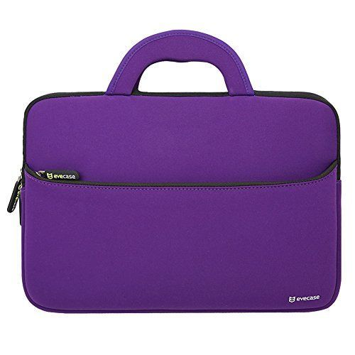Evecase Ultra-Portable Universal Neoprene Carrying Sleeve Case Bag Cover for 14 inch Laptop Notebook Ultrabook Macbook and Computer (ACER ASUS HP SONY TOSHIBA DELL LENOVO SAMSUNG APPLE) - Purple