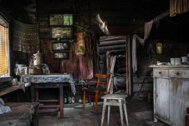 An abandoned house in the village of Sedtydin on the shores of the Vychegda River, in the Komi Republic, June 2014.