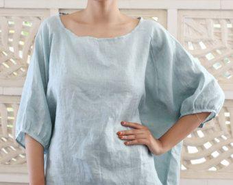 Belle et douce surdimensionné tunique en lin coton avec chute de décolleté. Choix idéal pour ceux qui aiment les vêtements amples et confortables. Fabriqué à partir de coton lin qui vous fera vous sentir confortable et unique