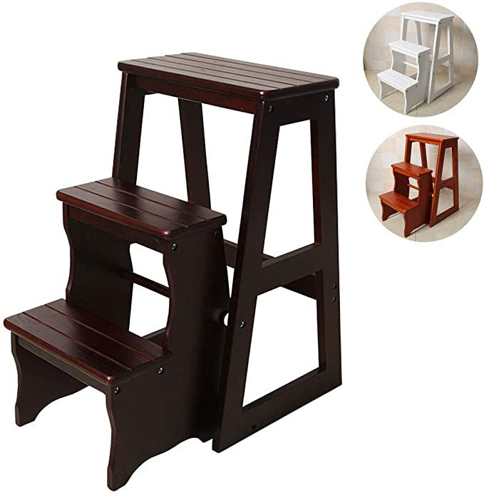 Handles make it easy to carry Solid spruce. Personalized Two-Step stool with Minwax stain of your choice