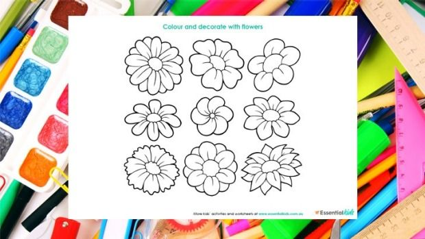 Flower power colouring page http://www.essentialkids.com.au/activities/colouring-pages/flower-power-colouing-page-20151016-gkbaue