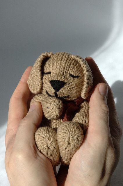 Sleepy puppy knit toy