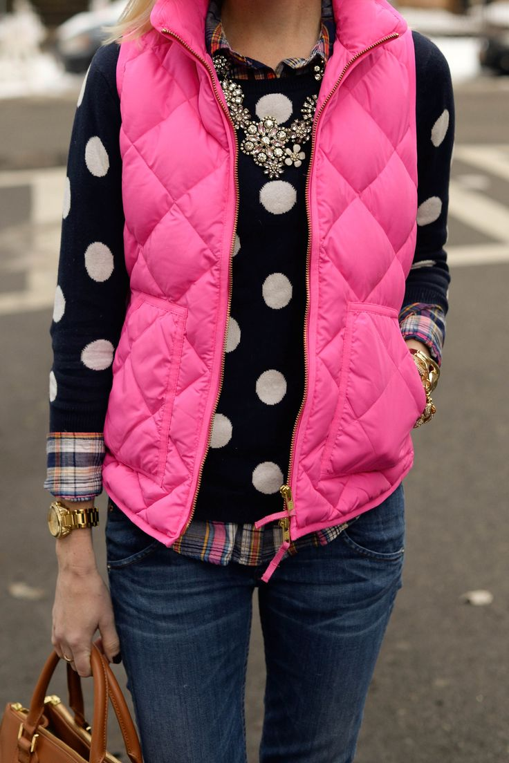 Polka dot sweater, plaid shirt, puffer vest, statement necklace