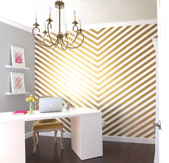 Hand painted Gold Stripes! Amazing! (via Apartment Therapy}