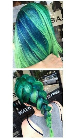 Green braided dyed hair color @hair_goals101