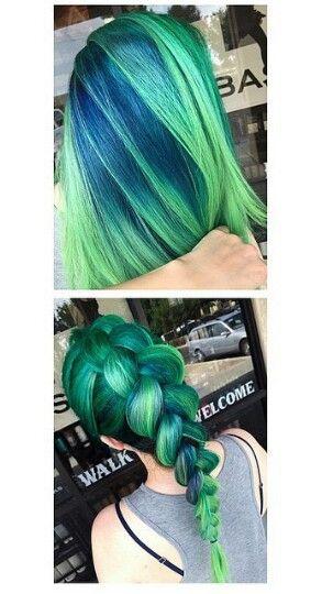 Green braided dyed hair color @hair_goals101