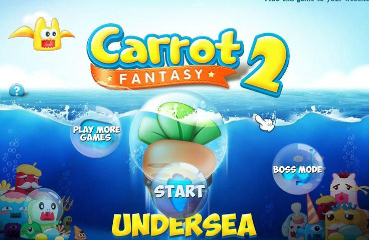 Carrot Fantasy 2 undersea is a strategy defence game where you must defence your carrot from the marine creatures. Every stage has his own difficulties and his own towers so use your head and play smart only on edygames.com.