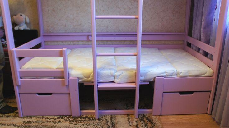 Мебель из массива :: Яркая Детская Мебель :: Компактная двухъярусная кровать-трансформер