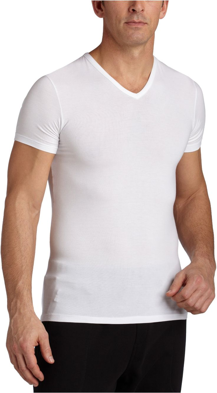 Calvin Klein Men's Micro Modal Short Sleeve V Neck at Amazon Men's Clothing store: Undershirts