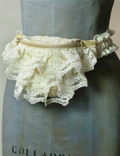 This gorgeous frilly lace fanny pack will clear all previous 90's trauma of the trend you tried to forget.