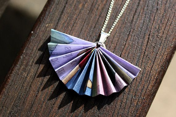 Unique Paper Necklace. Concertina Fan Design. Lilac, pink and blue. $20.00. Made by ThePaperer