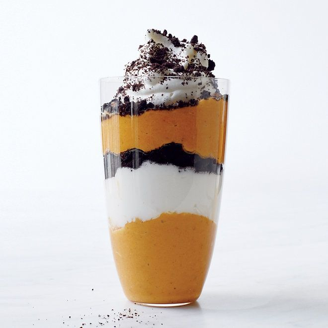 Pumpkin Parfaits | F&W's Justin Chapple layers superspeedy pumpkin mousse with whipped mascarpone cream and crushed chocolate wafer cookies for his gorgeous, delicious parfaits.