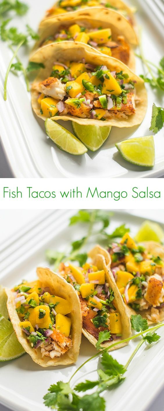 Fish Tacos with Mango Salsa Recipe - An easy, less than 30 minute dinner or lunch idea! - The Lemon Bowl