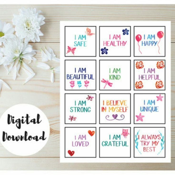 Positive affirmation cards for kids!