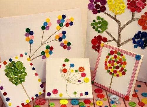Pour cet art visuel vous aurez besoin d'un papier cartonné, de boutons colorés, de colle et un peu d'imagination...
