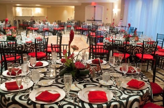 The Mayfair Hotel Miami Is Decorated For A Wedding Reception In Shades Of Black Red WeddingsWhite