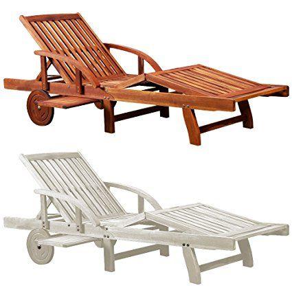 Chaise longue Tami Sun en bois d'acacia 200cm - transat bain de soleil
