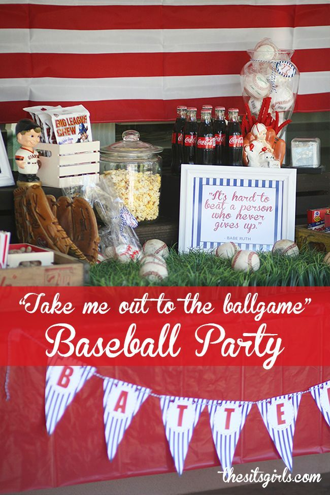 Great baseball party ideas! The baseball quotes make great printables and fit in great on the table with all the traditional concession stand food. This would be a fun theme for a birthday party.